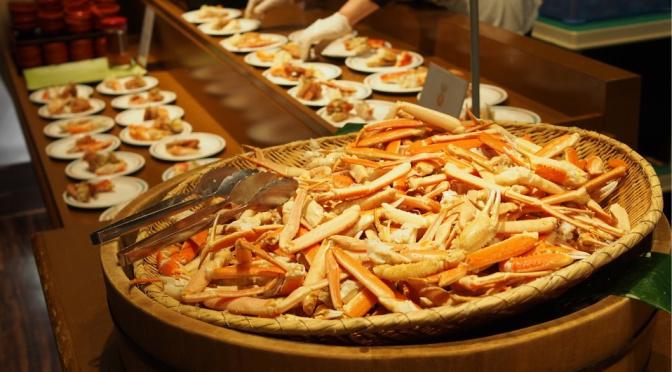 〖道南温泉紀行〗〔登別〕 ホテルまほろば 夕食 馳名三大蟹放題