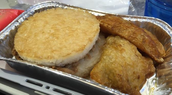 蔥薑豚肉米漢堡配烤雞扒薯角