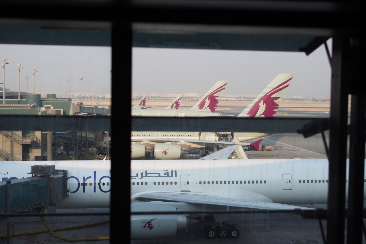 多哈機場一列都是卡塔爾航空的航機
